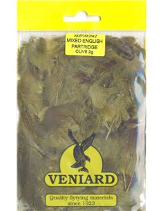 Partridge feathers - Olive mix, 2g